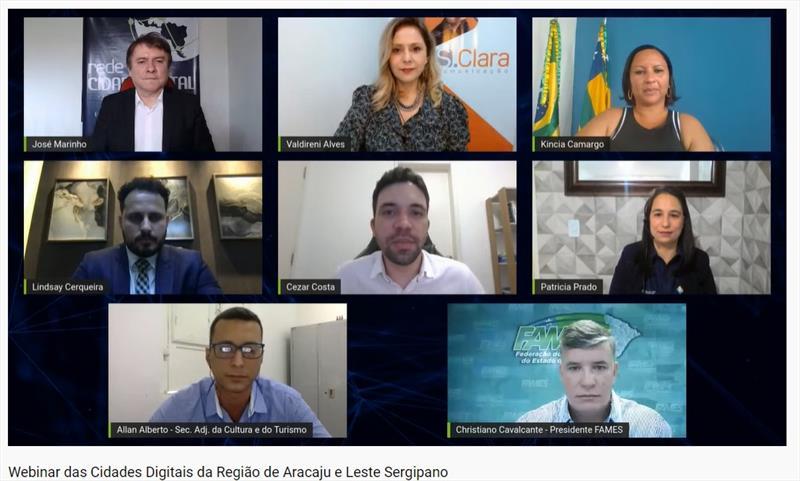 Webinar das Cidades Digitais da Região de Aracaju e Leste Sergipano reúne cerca de 40 municípios